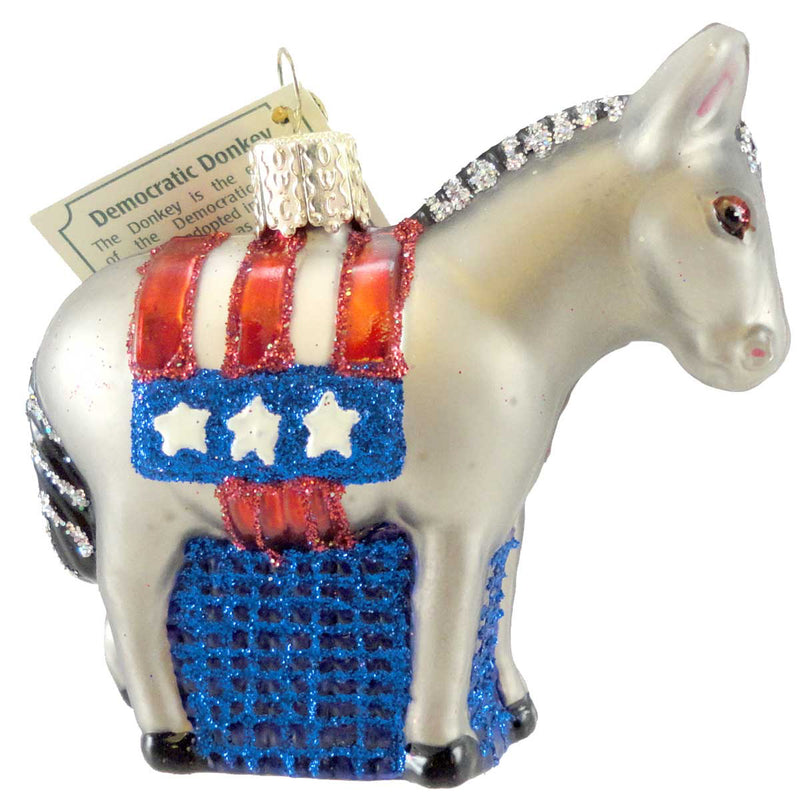 Old World Christmas Democratic Donkey Glass Ornament
