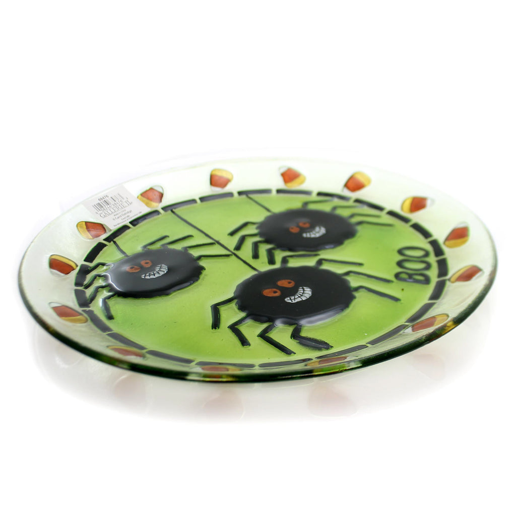 Tabletop SPIDER FUSED PLATE Glass 13-inch Round Halloween Platter 68476