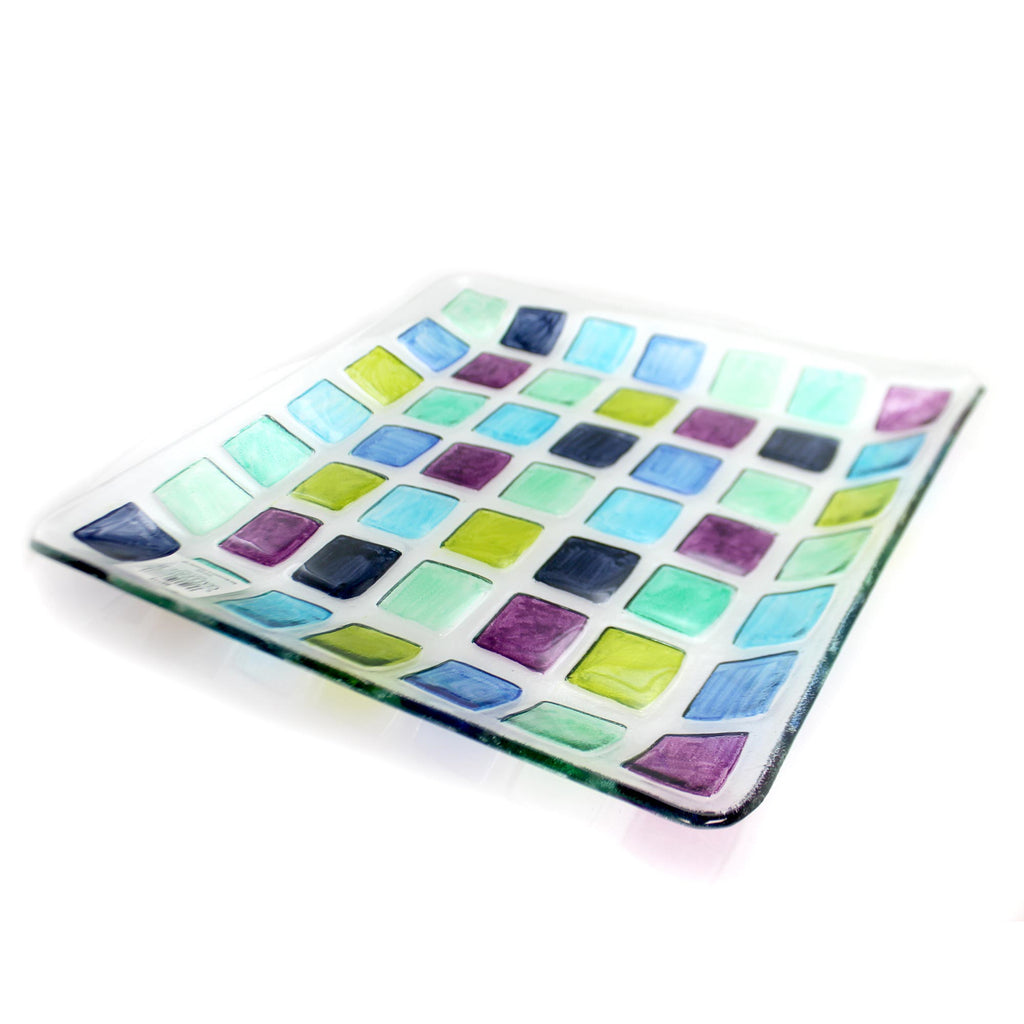 Tabletop MOSAIC SQUARE PLATTER Fusion Glass Serving Tray 68773