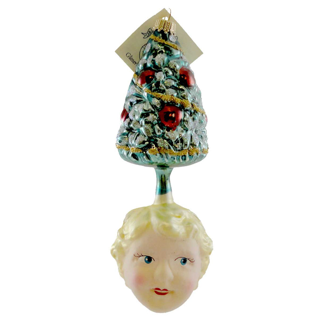 Larry Fraga Tree With Face Glass Ornament