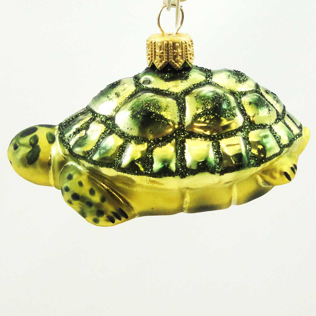 Tannenbaum Treasures Green Turtle Glass Ornament