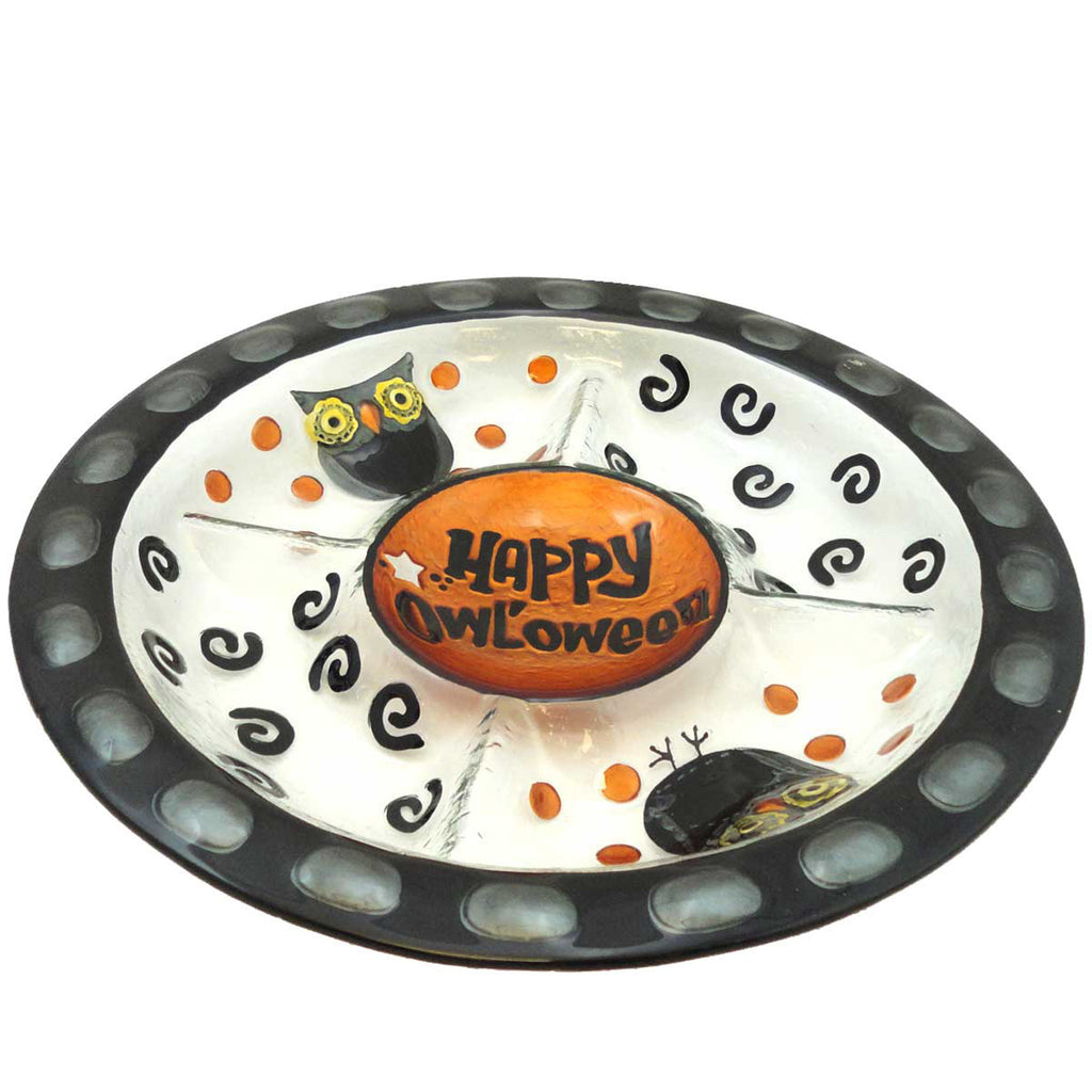 Tabletop HAPPY HALLOWEEN 5 SECTION SERVER Fusion Glass Owls 3GCH4142