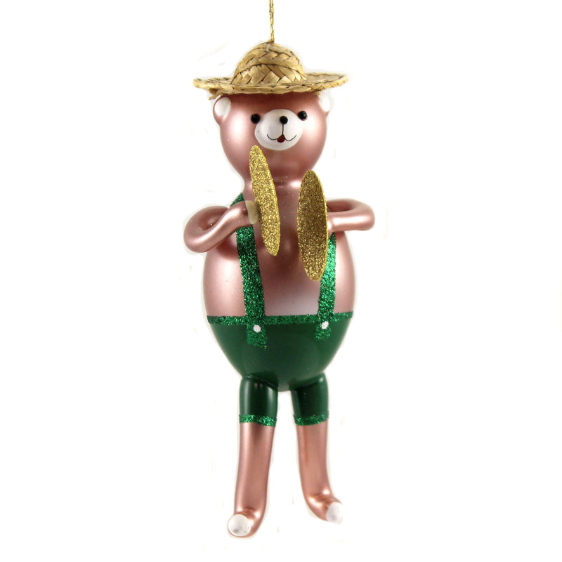 De Carlini Bear Band With Cymbals Glass Ornament