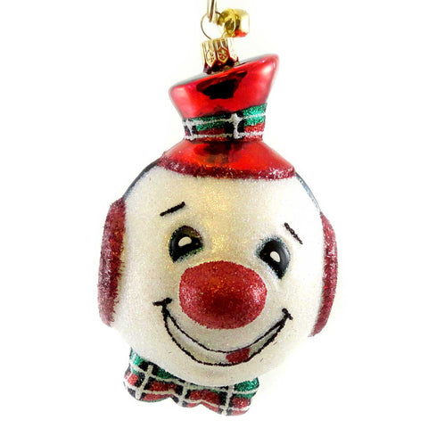 Jinglenog JUGHEAD Blown Glass Ornament Christmas Snowman 80080 17342