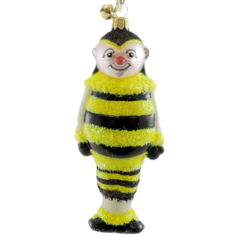 Jinglenog BILLY D BUZZ Blown Glass Ornament Christmas Bee 80193 17350