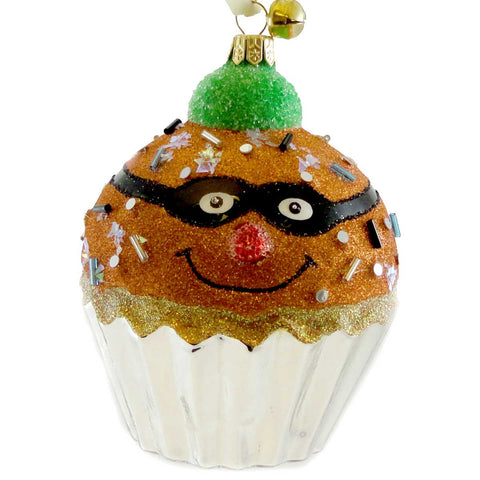 Jinglenog BOO BAKED Blown Glass Ornament Halloween Cupcake 80177 17353