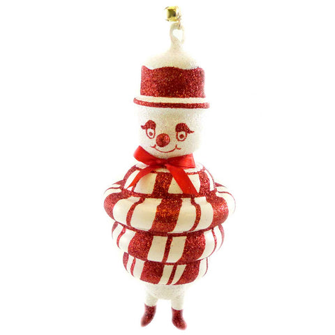 Jinglenog SNO-MINT Blown Glass Ornament Christmas Peppermint 80120 17362