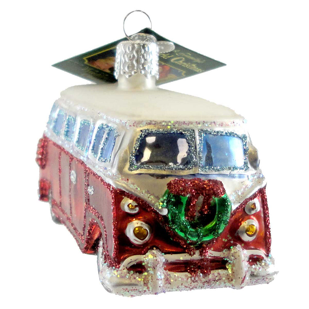 Old World Christmas CAMPER VAN Glass Ornament Christmas Car Travel 46042
