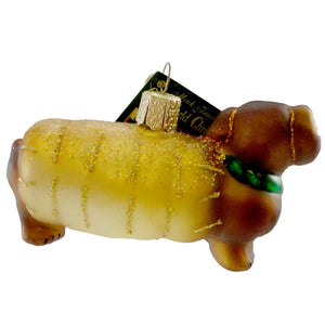 Old World Christmas Wiener Dog Glass Ornament