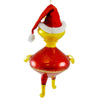De Carlini Alien With Santa Hat Glass Ornament
