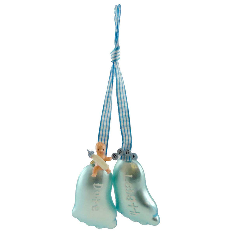 Cherry Designs Blue Baby Feet Glass Ornament