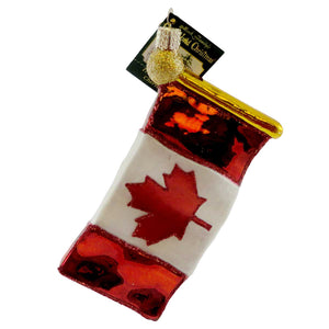 Old World Christmas Canadian Flag Glass Ornament