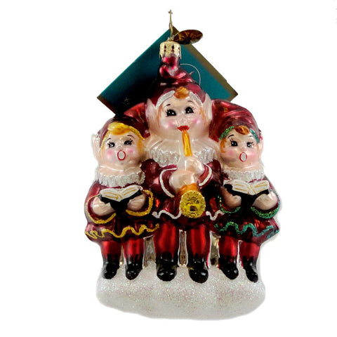 Christopher Radko LITTLE TUNES Blown Glass Ornament Christmas Musical Elf 1795