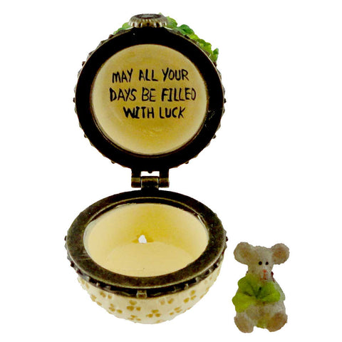 Boyds Bears Resin ERIN'S POT OF CLOVER WITH SEAMUS Treasure Box 4031618 17966