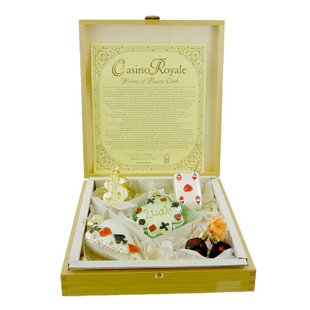 Inge Glas Casino Royale Boxed Glass Ornaments