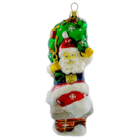 Polonaise Ornaments Santa In Chimney Glass Ornament 19380