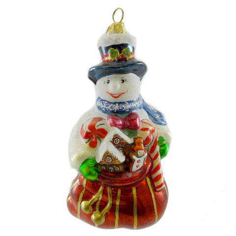 Polonaise Ornaments Snowman With Sweets Glass Ornament 19385