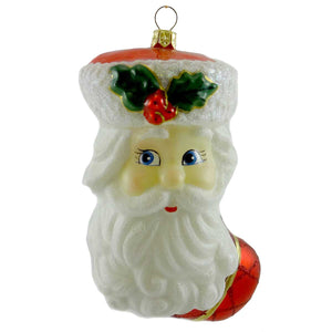 Polonaise Ornaments Santa Stocking Glass Ornament