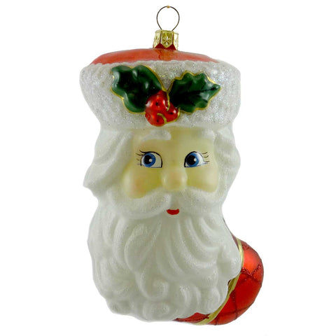 Polonaise Ornaments Santa Stocking Glass Ornament 19390