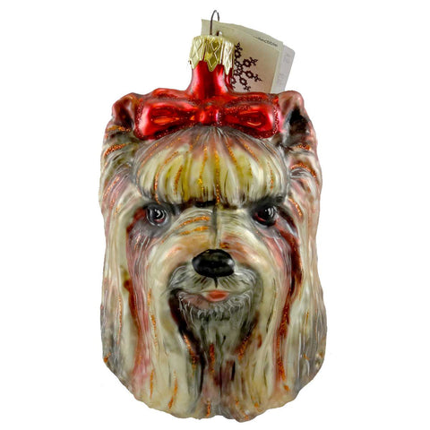 Slavic Treasures Ornament YORKSHIRE TERRIER Blown Glass Ornament Dog Pet 99057A 19424