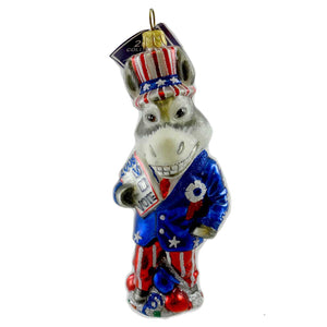 Slavic Treasures Ornament Campaigning Donkey Glass Ornament