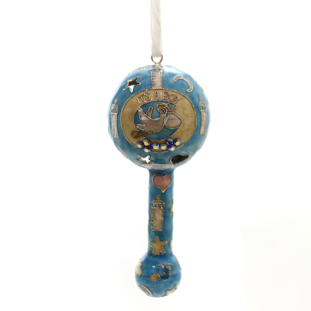 Holiday Ornament Baby Boy Rattle Resin Ornament