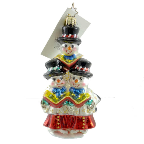 Christopher Radko FROSTY CAROLERS Glass Ornament Snowmen Singing 19978