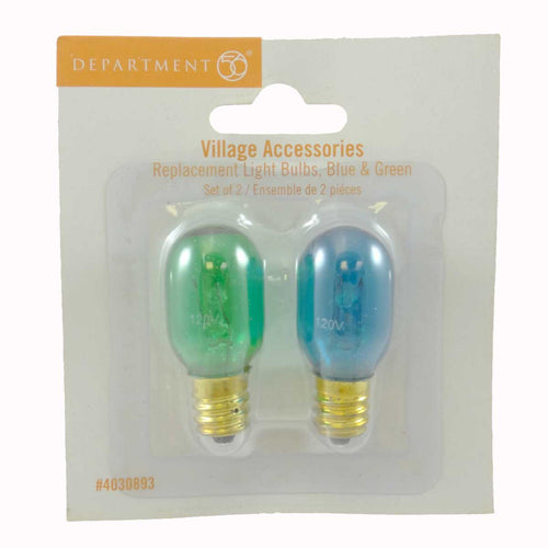 Dept 56 Accessories Blue & Green Replacement Bulbs Village Replacement Bulbs