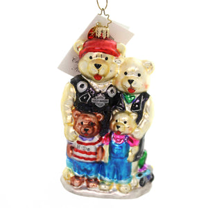 Christopher Radko H-D® BEAR FAMILY Blown Glass Harley Davidson 02HAR02