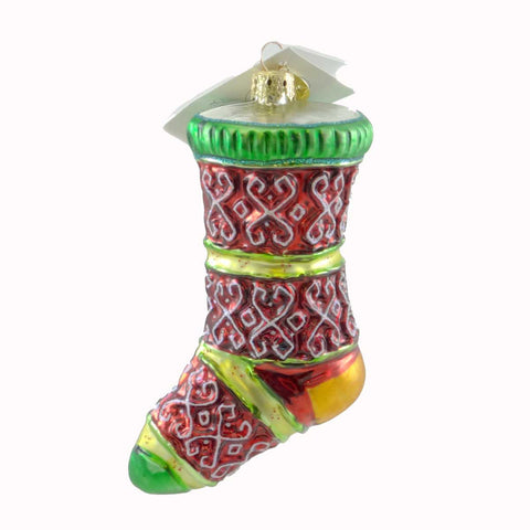 Christopher Radko Ski Knit Stocking Glass Ornament 21104
