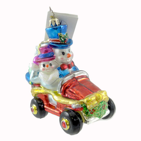 Christopher Radko SNOWY ROADSTER Glass Ornament Snowman Christmas 21366