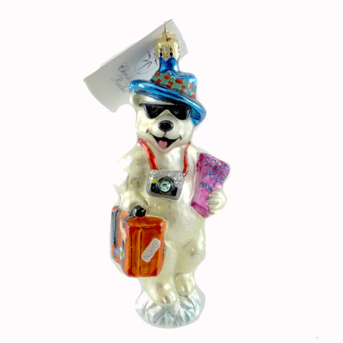 Christopher Radko COOL SUMMER Glass Ornament Teddy Bear Vacation 21395
