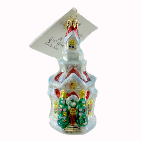 Christopher Radko HOLIDAY BLESSING GEM Blown Glass Ornament Church Chapel 21444