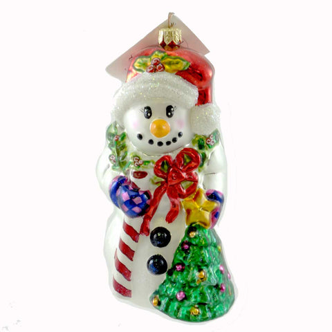Christopher Radko HOLLY DAY Glass Ornament Snowman Wreath 21451