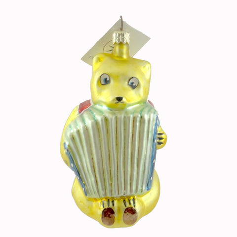 Christopher Radko GYPSY BEAR Glass Ornament Accordian Glass 21536