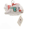 Laved Italian Ornaments White/Red Plane With Face Glass Ornament