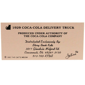 Cats Meow 1929 Coca Cola Delivery Truck Keepsake
