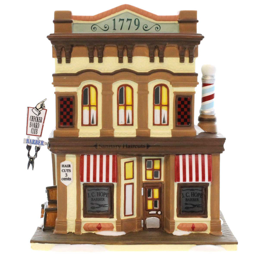 Dept 56 Buildings J C Hope Barber Village Lighted Building