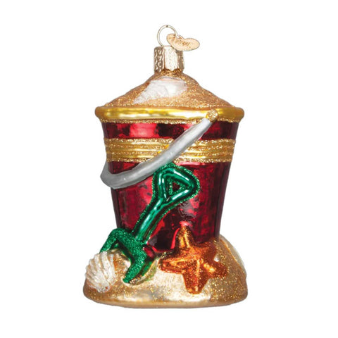 Old World Christmas Beach Bucket Glass Ornament 23011