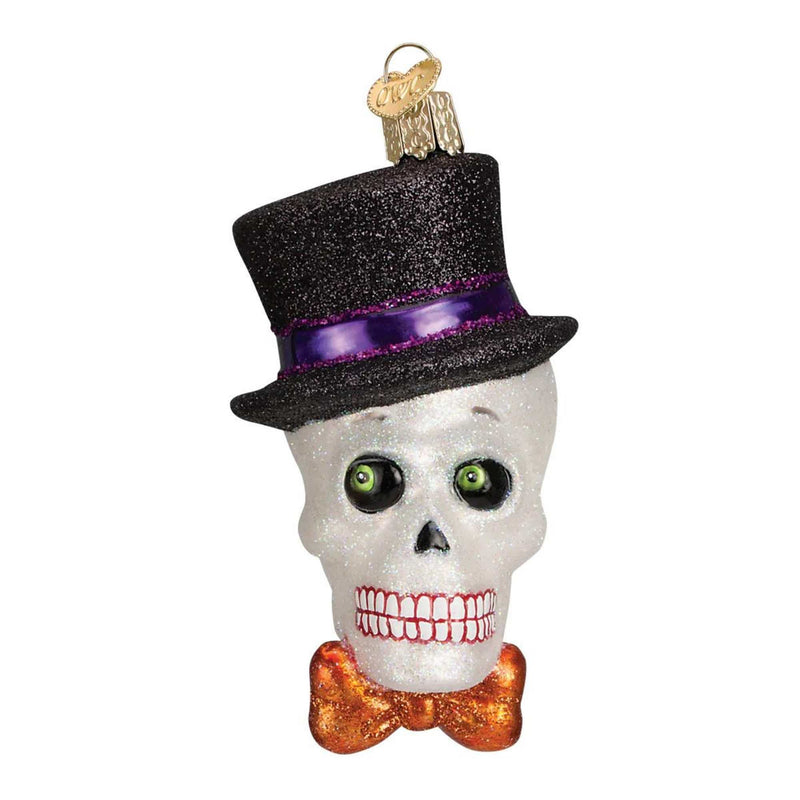 Old World Christmas Top Hat Skeleton Halloween Glass Ornament