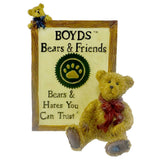 Boyds Bears Resin Malcolm With Friend Sign / Plaque