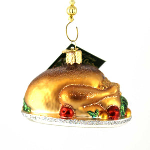 Old World Christmas Turkey Platter Glass Ornament
