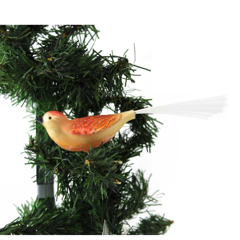 Old World Christmas Just Peachy Songbird Glass Ornament