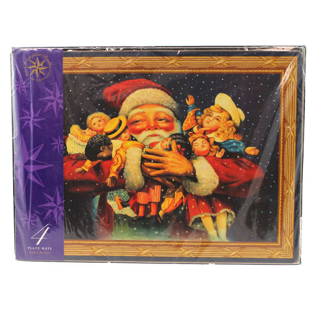 Christopher Radko Vintage Santa Placemats St/4 Christmas Tabletop