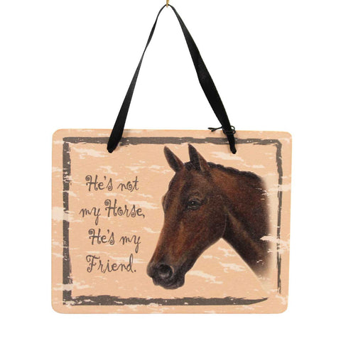 Animal BAY HORSE PLAQUE Wood Friend Ornament GP122 23975