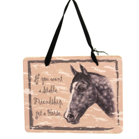 Animal GRAY HORSE PLAQUE Wood Stable Friendship Ornament GP126 23978