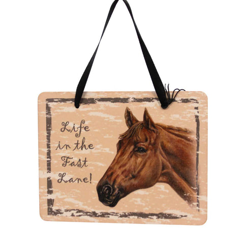 Animal THOROUGHBRED PLAQUE Wood Horse Fast Ornament GP129 23979
