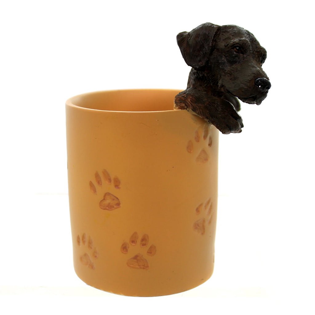 Home & Garden Chocolate Lab Penholder Tabletop