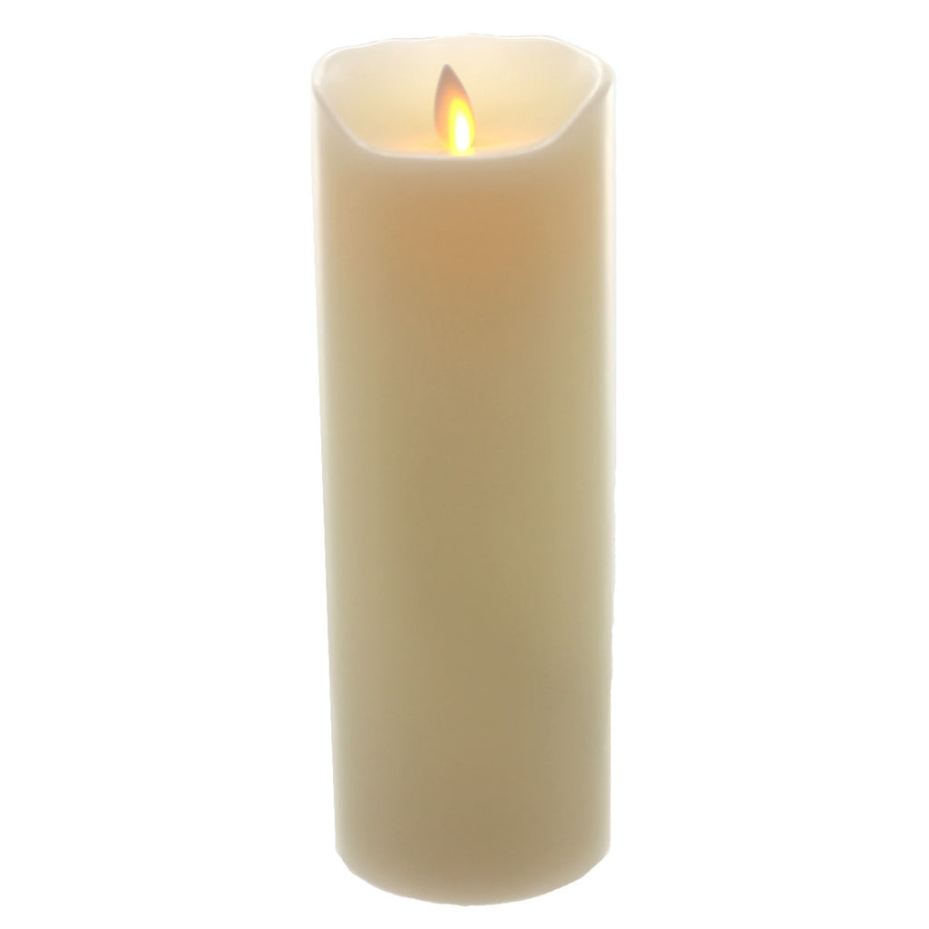 "Home & Garden Mystique 9"" Ivory Moving Flame Flameless Candle Tabletop"