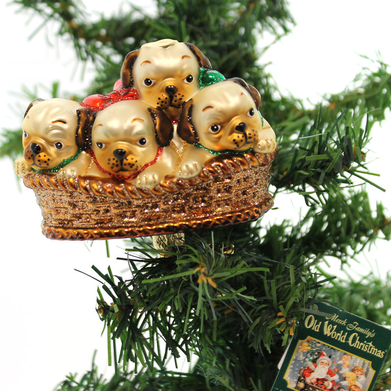 Old World Christmas Pile Of Puggles Glass Ornament